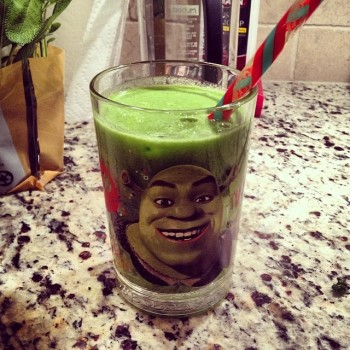 My green juice tastes better in my Shrek glass